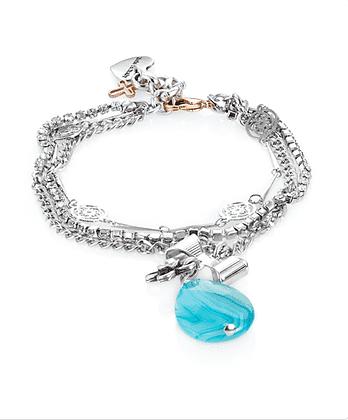 Blue Agate Stone Charm Bracelet. Silver Charm Bracelet.