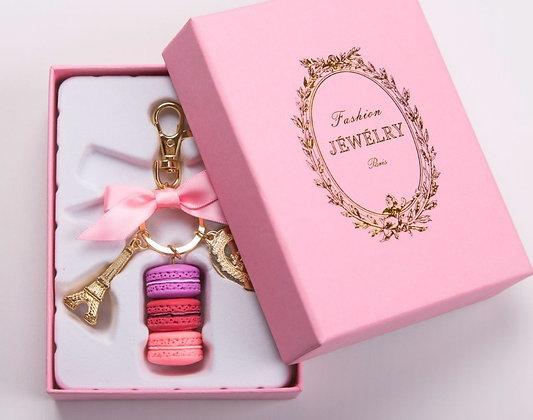 Eiffel Tower Macarons Ribbon Luxury Macarons Cake Keychain