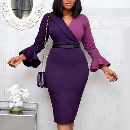 Patchwork Long Flare Sleeve Elegant Classy Bodycon Dress
