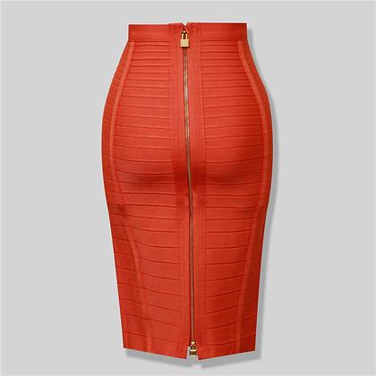 Zipper Bodycon Rayon Bandage Skirt
