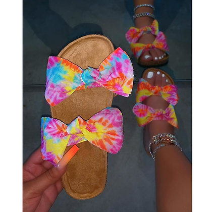 Tie Dye Butterfly Knot Thick Bottom Open Toed Sandals