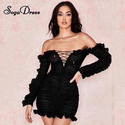 SOGA DRESS New Sexy Mesh Black Mini Dress