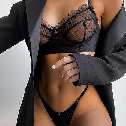 Ruffle Lace Black Lingerie Set