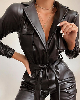 Faux Leather Waist Tie Jumpsuit