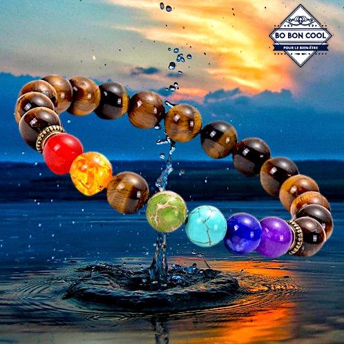 Bracelet en Oeil de Tigre et pierres 7 Chakras BBC-P 018-3