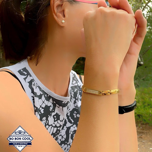 BBC054 Bracelet Energétique Or Charme avec Cristal