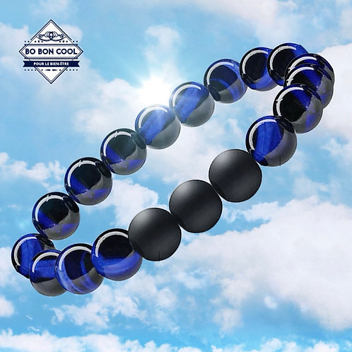 BBC-P 011 Bracelet oeil de tigre bleu + 3x agate mate