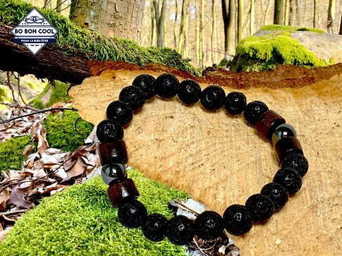 Bracelet en pierre Volcanique avec 2 Aimants BBC-P 019-2