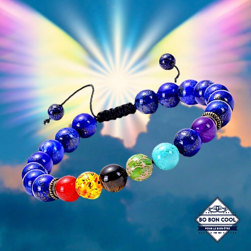 BBC-P 017-5 Bracelet en Lapis Lazuli avec 7 Chakras
