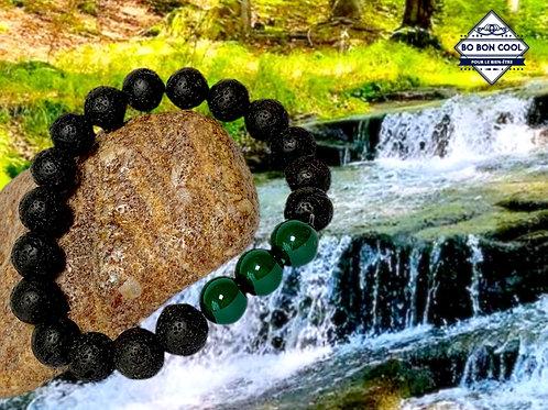 BBC-P 090-4 Lavastein-Armband mit 3 grünen Turmalinen