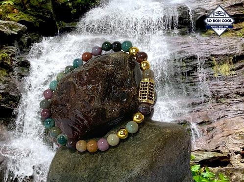 BBC-P 013-12 Bracelet en Agate et decor Plaqué Or