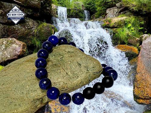 BBC-P 090-2 Bracelet en Lapis Lazuli avec 3 Agate-Mate