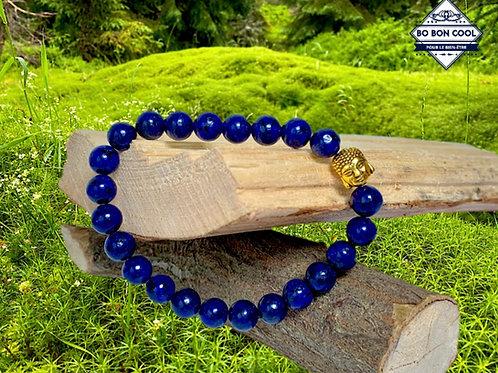 BBC-P 007 Bracelet Tête de Bouddha en Or et Lapis-Lazuli