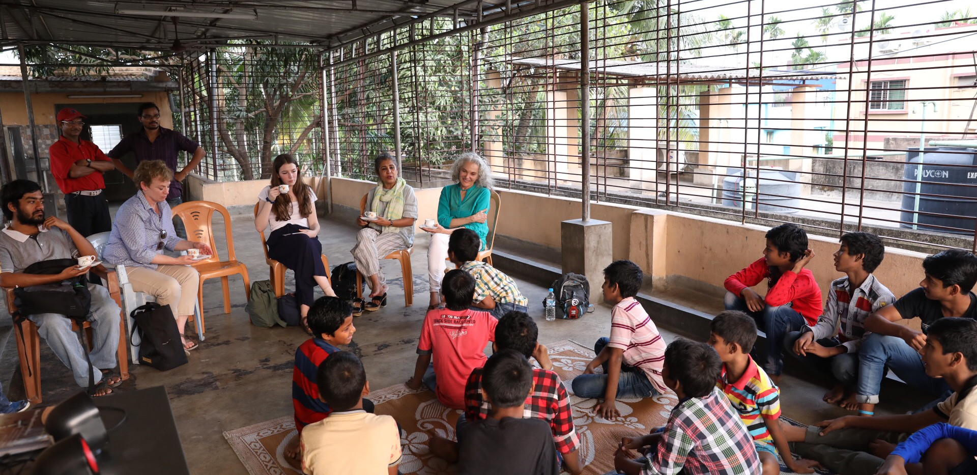 Meeting boys at the boy's home