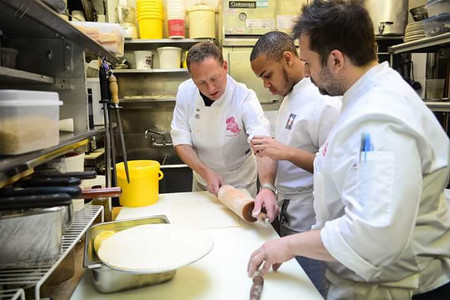 Jeremiah with Chef Franklyn Becker and Chef Paul Denamiel