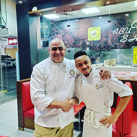 Jeremiah with Chef George of Doha,Qatar