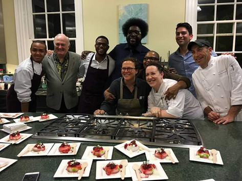 Jeremiah with various chefs...Quest Love, Chef Kwame Onwuachi, Chef Traci Jardiniere, Chef Tanya Holland