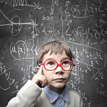 Thinking child with a blackboard in the