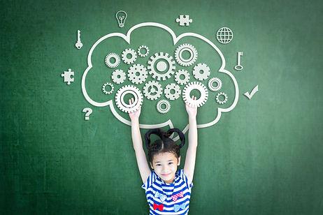 School girl kid student with cloud compu