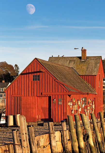 Moonrise at the Red House - Rockport, Massachusetts, USA