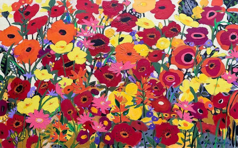 Bright colourful happy floral painting by Karen Windle