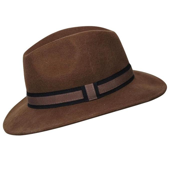 Chapeau fédora laine marron