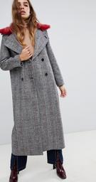 Neon Rose - Manteau long en tweed à carreaux et col en fausse fourrure