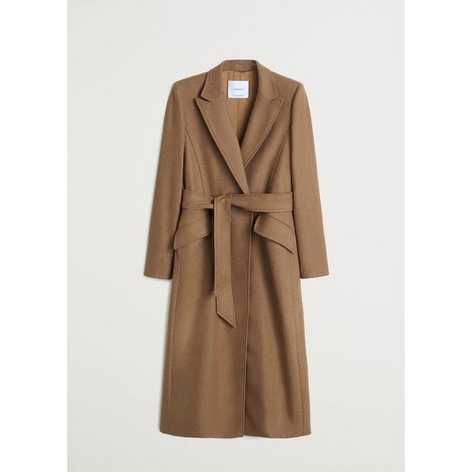 Manteau col tailleur ceinturé en laine marron