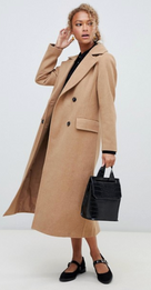 New Look - Manteau long ajusté - Fauve