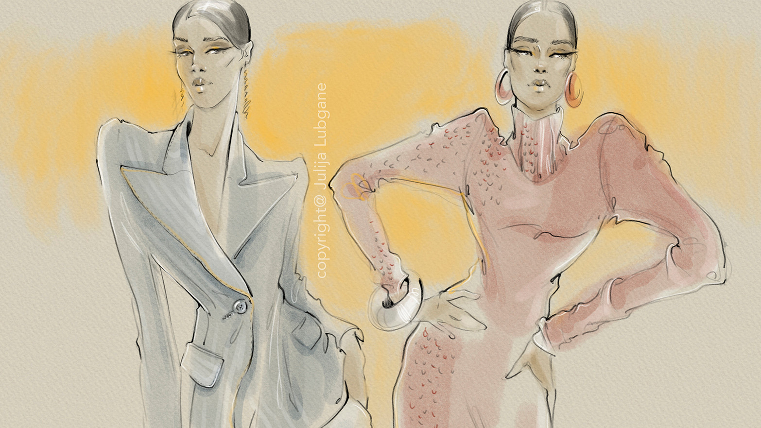 Fashion Illustration close up by Julija Lubgane
