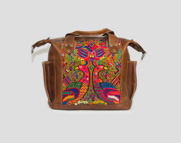 handmade leather backpack with embroidered birds