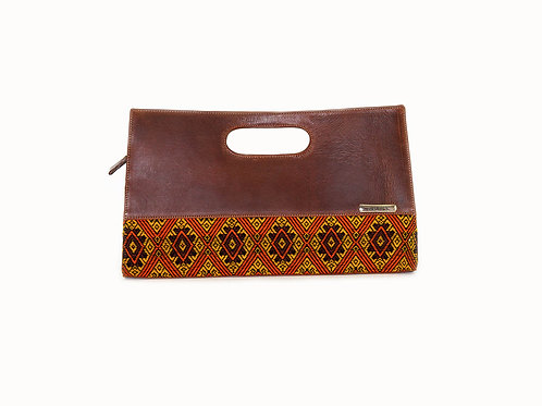 Guatemalan handbag with mayan symbols and embroidery orang diamond design, front view