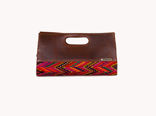 Guatemalan textile with Mayan weaving on rectangular brown leather crossbody bag, front view