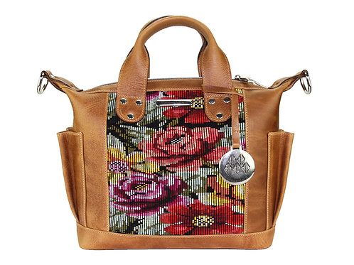 Huipil Convertible Day Bag Mini With Floral Design, Front View