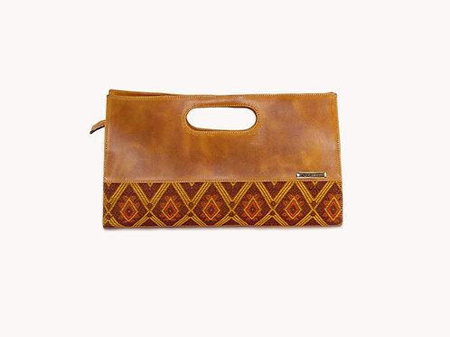Gautemalan huipil bag with Mayan textile and fullgrain leather, front view