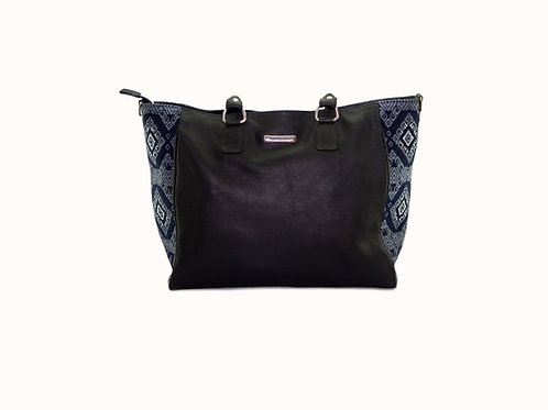 Ladies Black Leather Tote Bag With Blue Huipil, Front View