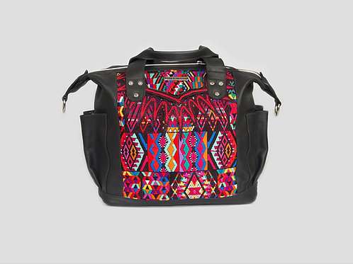Black Handmade Leather Backpack With Huipil Front View