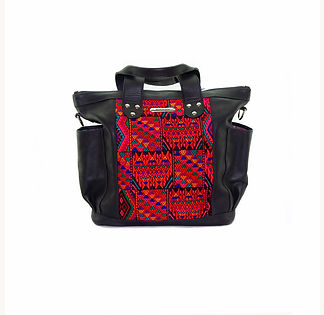 black leather huipil bag with red handwoven textile