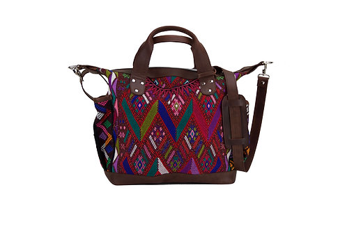 Huipil Convertible Day Bag With Red Geometric Huipil Pattern, Front View