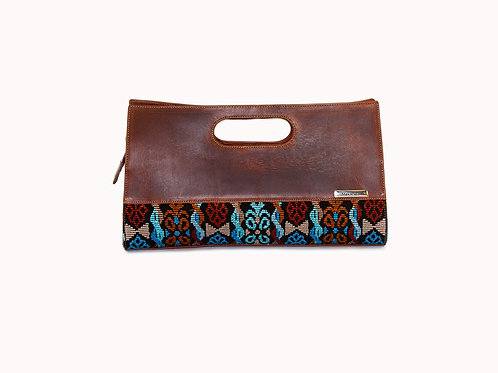 Guatemalan handbag with mayan symbols and embroidery, front view