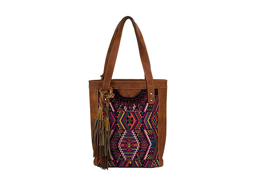 Ethically Made Leather Bags With Huipil And Leather Tassel, Front View