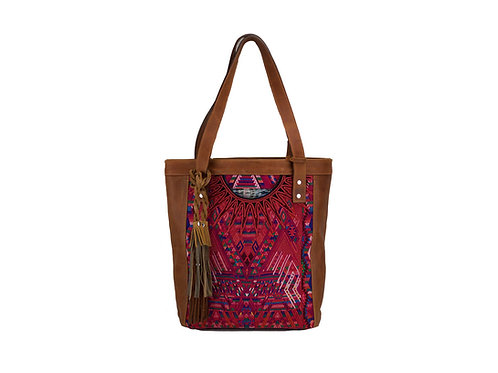 Huipil Leather Tote Bag With Pink Guatemalan Textile, Front View