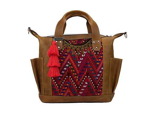 Huipil Convertible Day Bag With Pink Geometric Textile and Pom-Pom, Front View