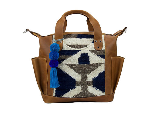 Huipil Convertible Day Bag With Blue And White Handwoven Wool Textile, Front View