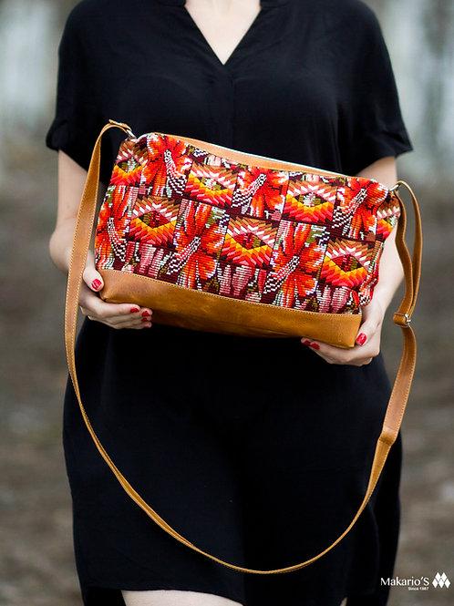Guatemalan Bag With Orange Geometric Huipil