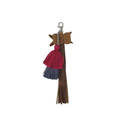 Pom Tassel Bag Charm With Leather