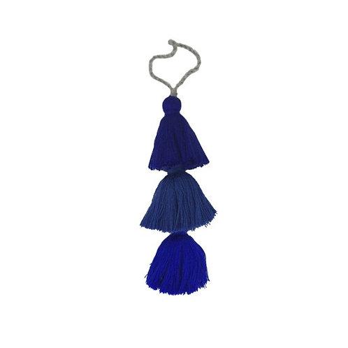 Pom Pom Bag Tassel, Blue Tones