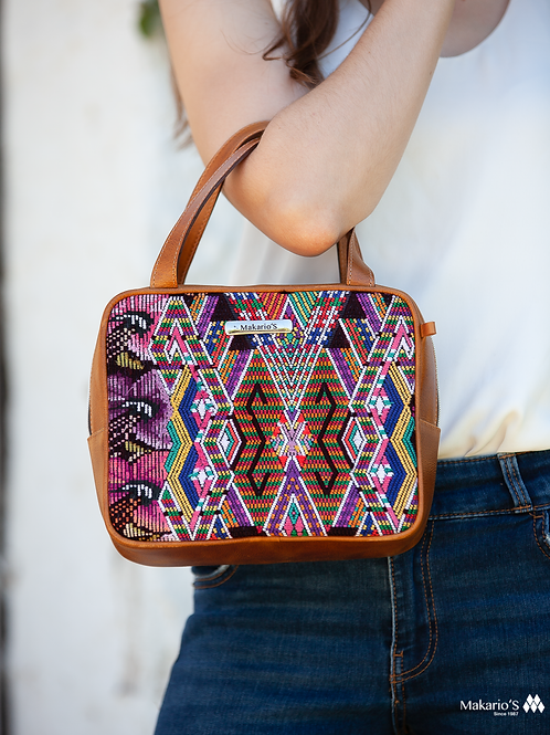 Huipil Leather Bag Crossbody Bag With Geometric Pattern