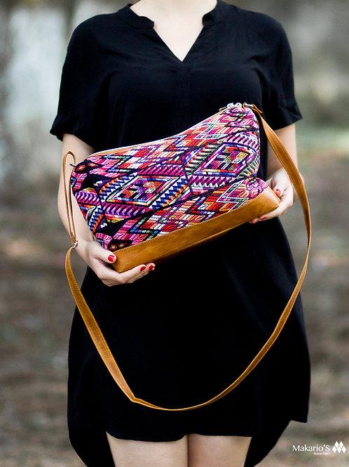 Guatemalan Bag With Geometric Purple Huipil