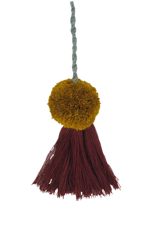 Pom Tassel Bag Charm With Mustard Color Pom Pom